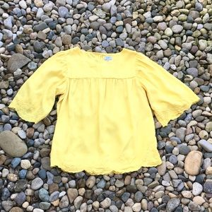 Crown & Ivy Yellow Embroidered Blouse Size Medium